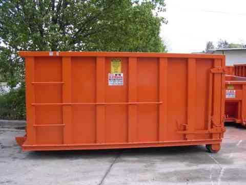 Orange Roll Off Dumpster side view